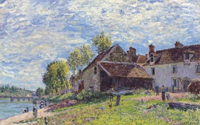 Picture picture, landscape, bridge, home, people, clouds, the sky, river, Alfred Sisley