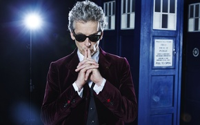 Picture glasses, lantern, actor, male, booth, jacket, Doctor Who, Doctor Who, The TARDIS, TARDIS, Peter Capaldi, …