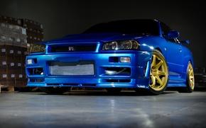 Picture nissan, wheels, skyline, blue, gtr, r34, nismo