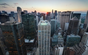 Picture sunset, new York, New York City, usa, nyc, Midtown Manhattan, Sunset over