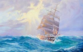 Picture sea, wave, ship, sailboat, Adolf Bock