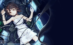 Picture girl, wire, anime, tears, art, keyboard, iwakura lain, serial experiments lain, monitors, experiments lane