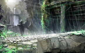Picture bridge, open, waterfall, home, rope, Heavenly Sword, destruction