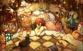 Picture animals, toys, bed, pillow, boy, girl, books, a lot, sleep