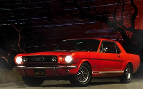 Wallpaper car, night, red, ford mustang, muscle car