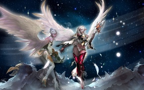 Picture stars, mountains, girls, wings, feathers, lineage 2, staff, ears, peaks, kamael, crossbow