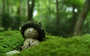 Wallpaper macro, moss, Japan, statue, Japan, sculpture, Kyoto, Kyoto, bokeh, Sanzen-in Temple, Temple Sanzen-in
