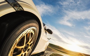 Picture road, the sky, the sun, sunset, mountains, wheel, Porsche GT3, GT3