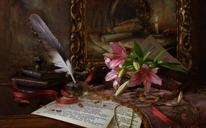 Picture flowers, pen, watch, books, picture, tape, paper, ink, Elijah