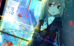 Picture girl, ball, anime, art, form, schoolgirl, nmaaaaa