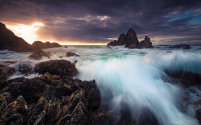 Picture sea, mountains, dawn, Australia