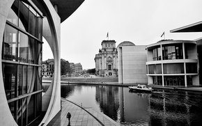 Picture river, Germany, water, black and white, Berlin, buildings, architecture, boat, building, pond, urban, reflections, structure, …
