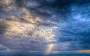Picture earth, rays, light, The sky, clouds