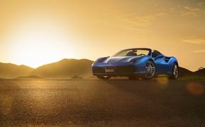 Picture Ferrari, Blue, Front, Sunset, Spider, Supercar, 488