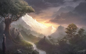 Picture mountains, river, view, waterfall, sword, warrior, cloak
