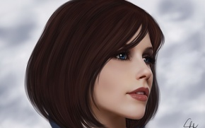 Picture the sky, look, girl, clouds, face, background, hair, the game, BioShock Infinite, Elizabeth