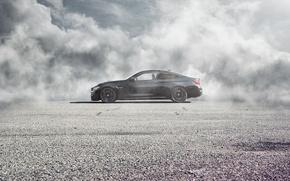 Picture BMW, German, Car, Black, Side, Automobiles, Fog, Perfomance