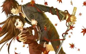 Picture katana, form, two, maple leaves, hiiro no kakera, yone kazuki, takuma onizaki, tamaki benefits, crimson …