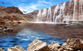 Picture the sky, mountains, birds, lake, stones, rocks, waterfall
