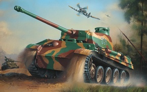 Wallpaper war, art, army, painting, drawing, ww2, the hawker tempest, geman tanks, sherman tank, panther tank