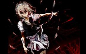 Picture darkness, blood, knives, killer, touhou, Sakuya Izayoi