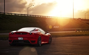 Picture the sun, red, track, the evening, car, F430, Ferrari, red, Ferrara