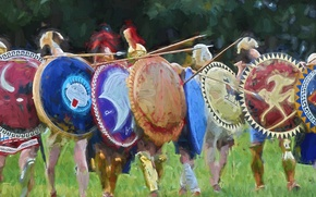 Picture warriors, shields, Stroy, hoplites