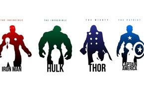 Picture heroes, Hulk, Iron man, Captain America, Thor