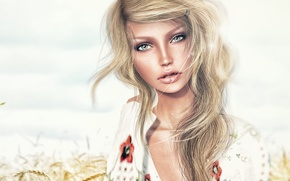 Picture blue eyes, model, look, blonde