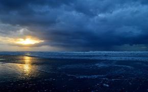 Picture sea, the sky, water, the sun, clouds, shore, horizon, Landscape
