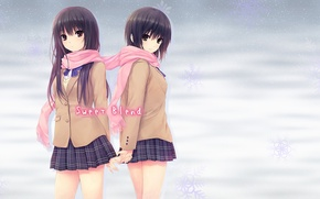 Wallpaper winter, girls, scarf, uniform, Coffee Kizoku, Shiramine Rika