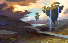 Picture trees, river, art, waterfalls, painted landscape, flying Islands