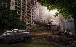 Picture machine, the city, the plane, Apocalypse, art