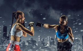 Picture snow, the city, rendering, background, girls, sport, shorts, Boxing, blow, gloves, the fight, athletes, Mikey