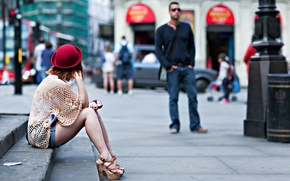 Picture girl, the city, street