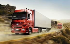 Picture road, speed, truckers, trucks, mercedes actros, tractors