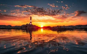 Picture the sun, clouds, reflection, shore, lighthouse