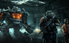 Picture weapons, robot, hangar, helmet, armor, robot, special forces, mech, future