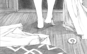 Picture feet, clothing, figure, pencil