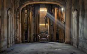 Picture room, sunlight, armchair, abandoned, decay, sunray