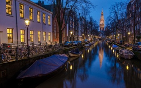 Picture photo, Holland, Amsterdam,  blue time 