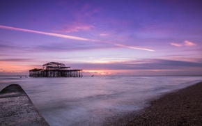 Picture sea, the sky, clouds, sunset, Strait, shore, England, the evening, pierce, UK, calm, lilac, Brighton