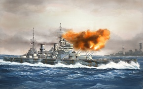 Picture ship, art, Navy, military, battleship, British, battleship, WW2, HMS, Prince of Wales