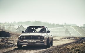 Picture BMW, Drift, Car, Front, Sun, E30, Road, Silver, Ligth