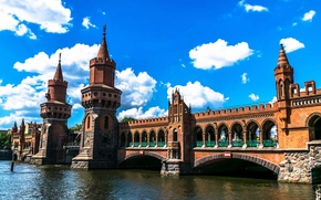 Wallpaper Berlin, tower, bridge, architecture, Germany, the sky, river, clouds, design