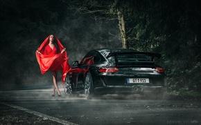 Picture 911, Porsche, Dark, Red, Beautiful, Model, GT3, Anne Fritzsche