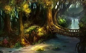 Picture forest, trees, bridge, waterfall, track, art