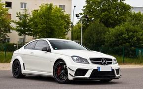 Picture white, trees, the building, Mercedes, white, Mercedes, tree, amg, AMG, black series, c63, building