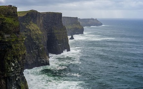 Picture sea, clouds, rain, The Cliffs Of Moher