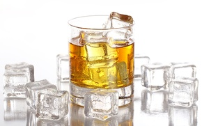 Picture ice, drops, cubes, glass, white background, whiskey